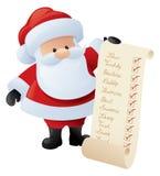 Kerstman en de Lijst Stock Foto