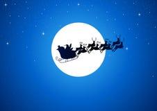 Kerstman en de Maan Stock Foto's