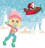 Kerstman en de winterlandschap Stock Afbeelding