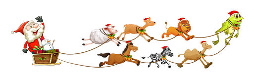 Kerstman en dieren Royalty-vrije Stock Afbeeldingen