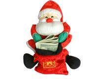 Kerstman en geld Stock Foto