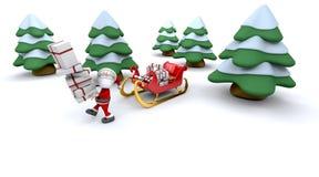 Kerstman en giften vector illustratie