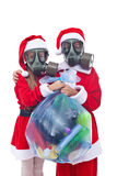 Kerstman en helper die u alternatieve aanwezige Kerstmis geven royalty-vrije stock foto's