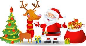 Kerstman en Herten Stock Afbeelding