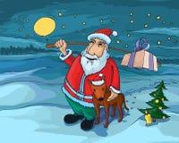 Kerstman en hond Stock Fotografie
