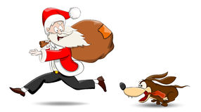 Kerstman en hond Stock Afbeeldingen