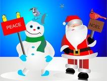 Kerstman en Ijzig de sneeuwman Stock Foto