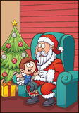 Kerstman en jong geitje Royalty-vrije Stock Afbeelding