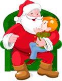 Kerstman en Jongen royalty-vrije illustratie