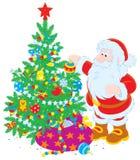 Kerstman en Kerstboom stock illustratie