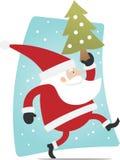 Kerstman en Kerstmisboom Stock Afbeelding