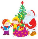 Kerstman en kinderen royalty-vrije illustratie