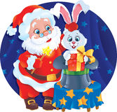 Kerstman en Konijn Stock Afbeelding