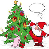Kerstman en konijntje Royalty-vrije Stock Foto