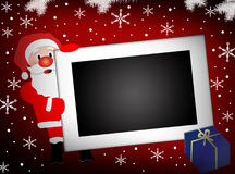 Kerstman en lege fotoframe achtergrond Stock Afbeeldingen
