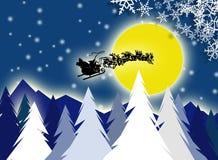 Kerstman en maan Royalty-vrije Stock Afbeeldingen