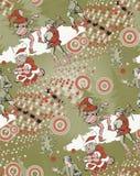Kerstman en middeleeuwse jugglers Naadloos patroon stock foto's