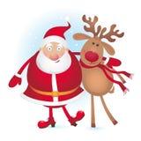 Kerstman en rendier royalty-vrije illustratie