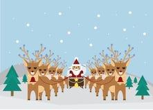 Kerstman en Rendier Stock Foto's