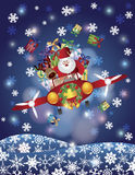 Kerstman en Rendier die in Uitstekend Vliegtuig vliegen Stock Afbeelding