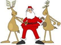 Kerstman en rendier twee die de zijdedans doen royalty-vrije illustratie