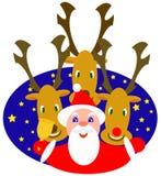 Kerstman en rendieren royalty-vrije illustratie