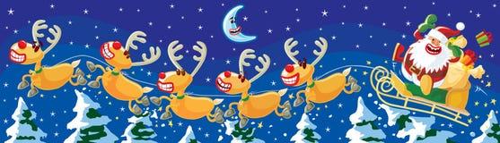 Kerstman en rendieren bij nacht Stock Afbeeldingen