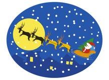 Kerstman en rendieren op maan Royalty-vrije Stock Foto