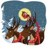 Kerstman en rendiervlieg langs royalty-vrije illustratie