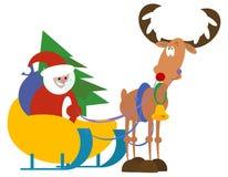 Kerstman en Rudolf stock illustratie