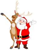 Kerstman en Rudolph Royalty-vrije Stock Afbeelding