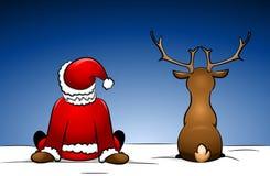 Kerstman en Rudolph royalty-vrije illustratie