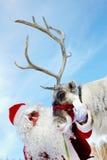 Kerstman en Rudolph royalty-vrije stock foto