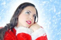 Kerstman en sneeuw Stock Foto