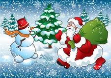 Kerstman en sneeuwman Royalty-vrije Stock Foto's