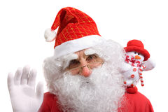 Kerstman en sneeuwman royalty-vrije stock afbeelding