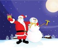 Kerstman en sneeuwman Stock Foto