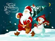 Kerstman en sneeuwman met Kerstmisboom en giftenkaart stock illustratie