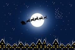 Kerstman en stad stock illustratie