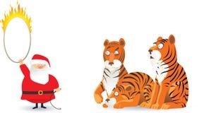 Kerstman en tijgers Royalty-vrije Stock Fotografie