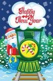 Kerstman en trein Royalty-vrije Stock Afbeeldingen