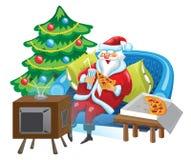 Kerstman en TV Stock Fotografie
