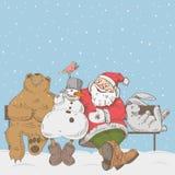 Kerstman en zijn helpers Stock Afbeeldingen