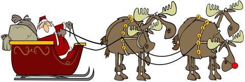 Kerstman en zijn reinmoose royalty-vrije illustratie