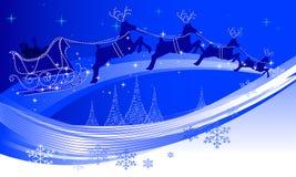 Kerstman en zijn rendier Stock Foto