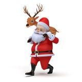 Kerstman en zijn rendier Stock Foto's