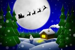 Kerstman en zijn rendieren die tegen maan berijden Royalty-vrije Stock Foto