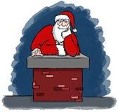 Kerstman Gekregen die in een Schoorsteen wordt geplakt Stock Fotografie