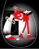 Kerstman guitarplayer Royalty-vrije Stock Afbeeldingen