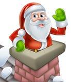 Kerstman in het beeldverhaal van schoorsteenkerstmis Stock Afbeelding